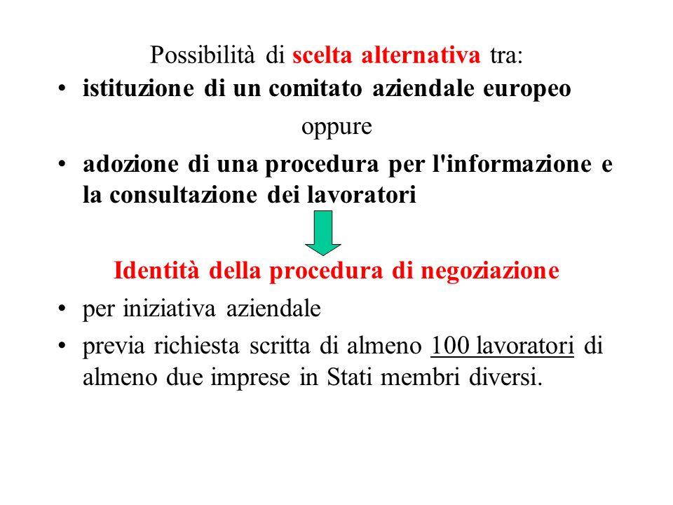 Possibilità di scelta alternativa tra: istituzione di un comitato aziendale europeo oppure adozione di una procedura per l'informazione e la consultaz