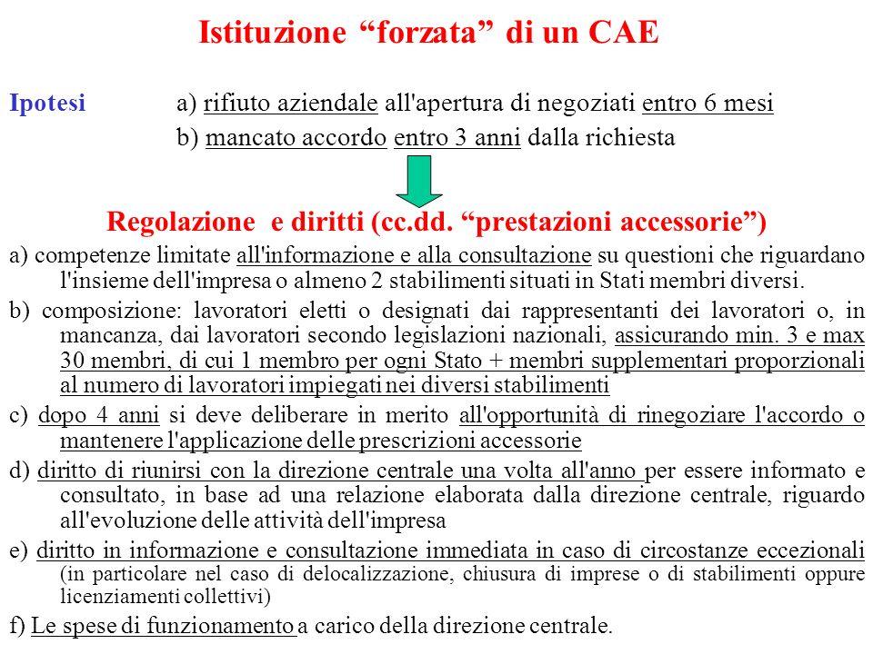 Istituzione forzata di un CAE Ipotesi a) rifiuto aziendale all apertura di negoziati entro 6 mesi b) mancato accordo entro 3 anni dalla richiesta Regolazione e diritti (cc.dd.