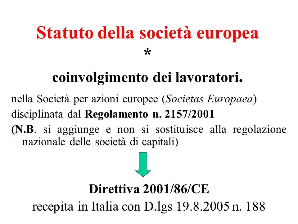 Statuto della società europea * coinvolgimento dei lavoratori. nella Società per azioni europee (Societas Europaea) disciplinata dal Regolamento n. 21