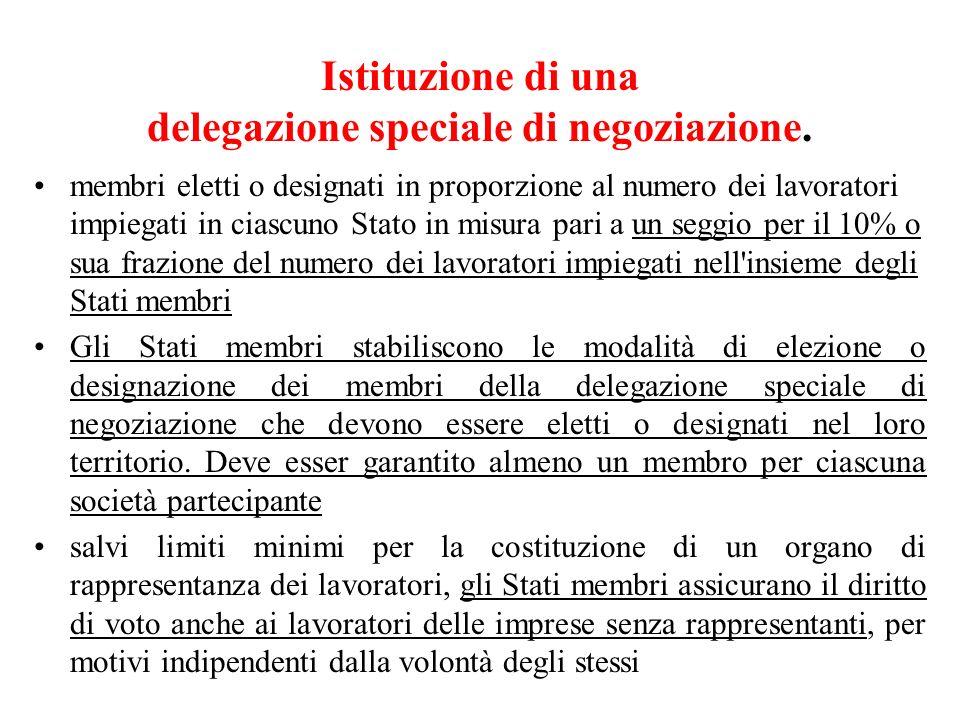 Istituzione di una delegazione speciale di negoziazione. membri eletti o designati in proporzione al numero dei lavoratori impiegati in ciascuno Stato