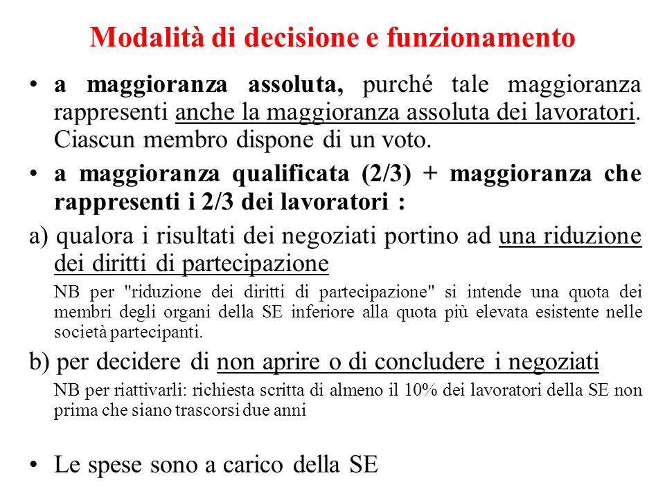 Modalità di decisione e funzionamento a maggioranza assoluta, purché tale maggioranza rappresenti anche la maggioranza assoluta dei lavoratori. Ciascu