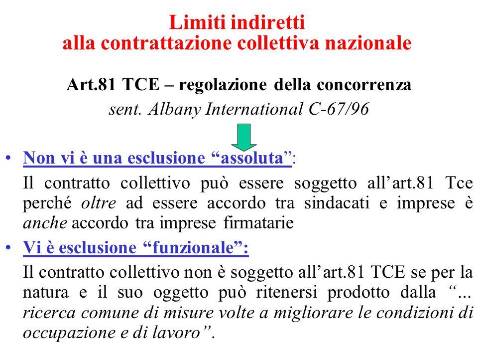 Limiti indiretti alla contrattazione collettiva nazionale Art.81 TCE – regolazione della concorrenza sent. Albany International C-67/96 Non vi è una e