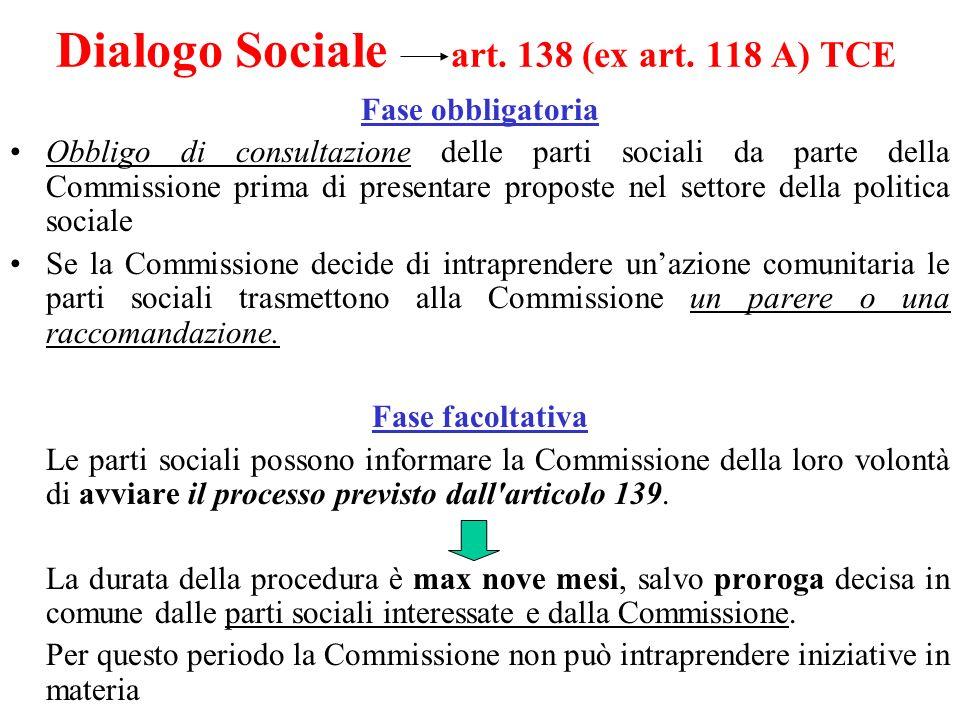 Dialogo Sociale art. 138 (ex art. 118 A) TCE Fase obbligatoria Obbligo di consultazione delle parti sociali da parte della Commissione prima di presen