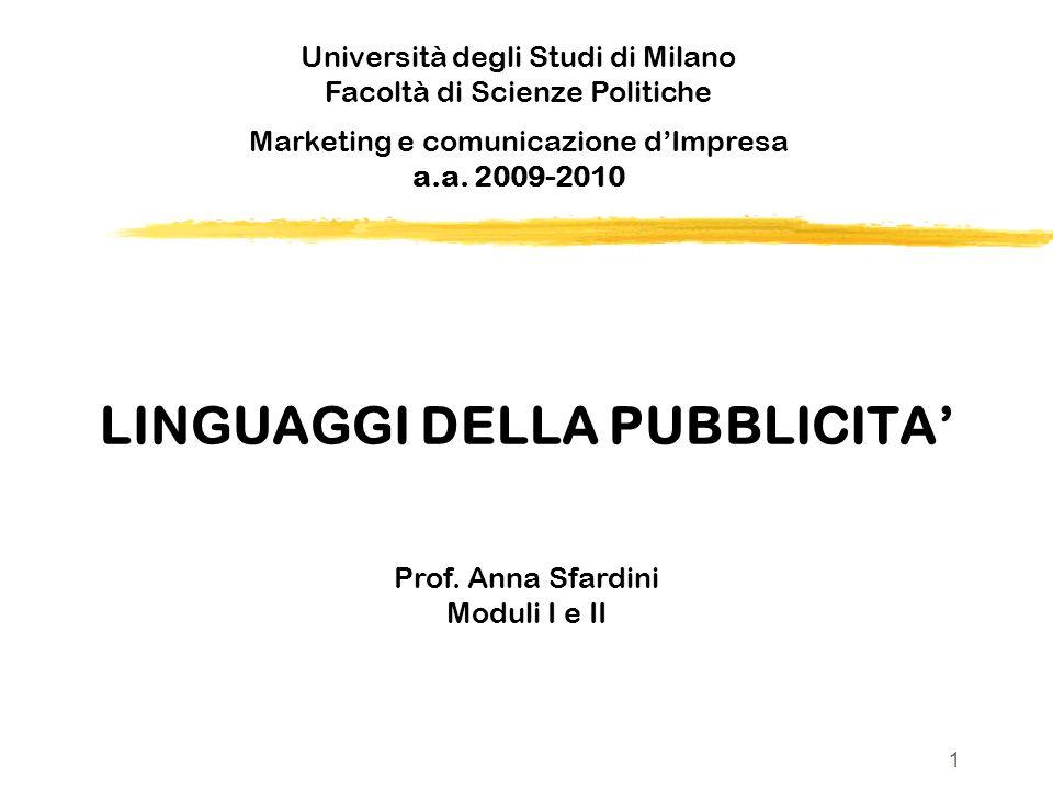 LINGUAGGI DELLA PUBBLICITA Prof. Anna Sfardini Moduli I e II Università degli Studi di Milano Facoltà di Scienze Politiche v Marketing e comunicazione