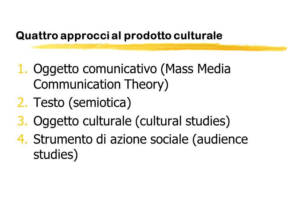 Quattro approcci al prodotto culturale 1.Oggetto comunicativo (Mass Media Communication Theory) 2.Testo (semiotica) 3.Oggetto culturale (cultural stud