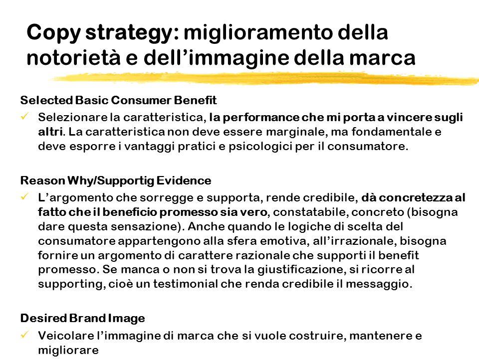 Copy strategy: miglioramento della notorietà e dellimmagine della marca Selected Basic Consumer Benefit Selezionare la caratteristica, la performance