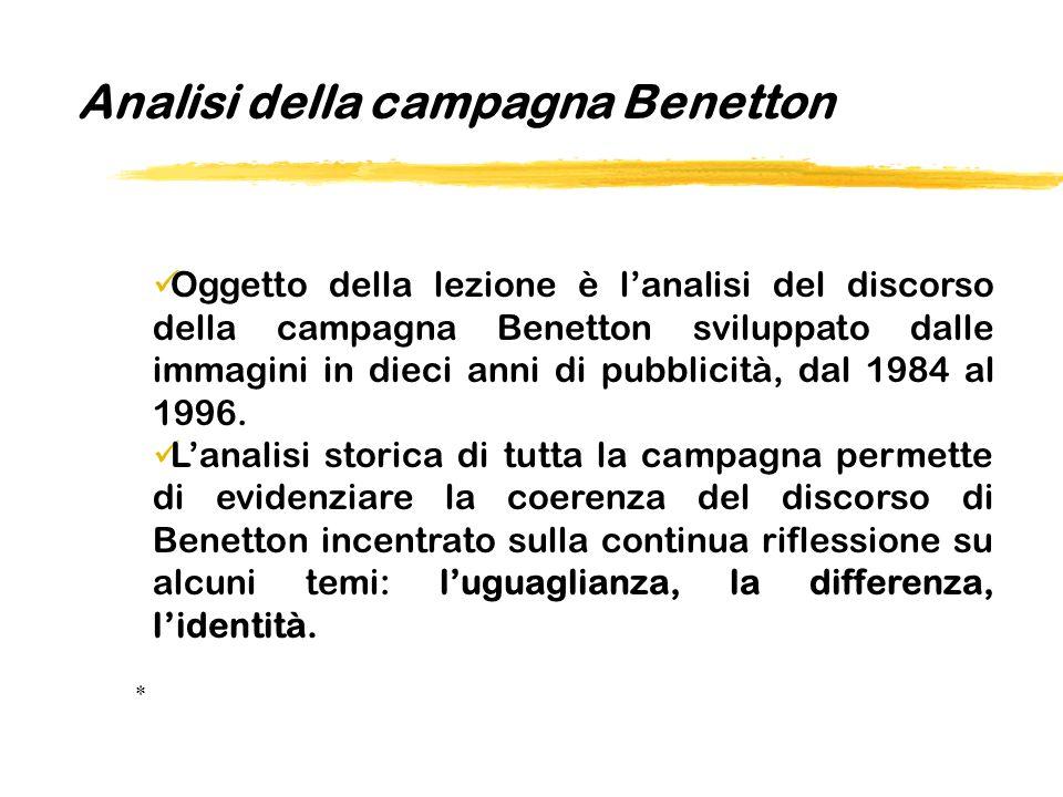 Oggetto della lezione è lanalisi del discorso della campagna Benetton sviluppato dalle immagini in dieci anni di pubblicità, dal 1984 al 1996. Lanalis