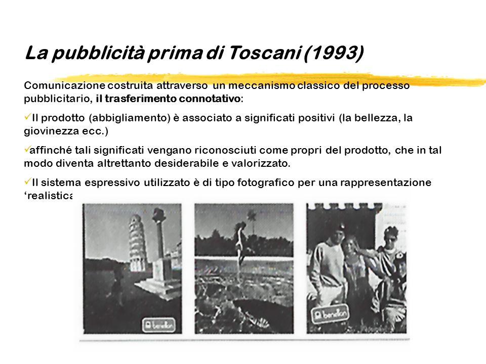 La pubblicità prima di Toscani (1993) Comunicazione costruita attraverso un meccanismo classico del processo pubblicitario, il trasferimento connotati