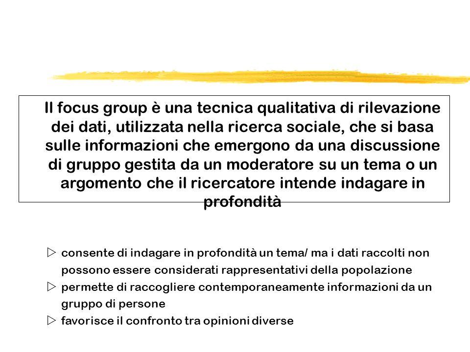 Il focus group è una tecnica qualitativa di rilevazione dei dati, utilizzata nella ricerca sociale, che si basa sulle informazioni che emergono da una
