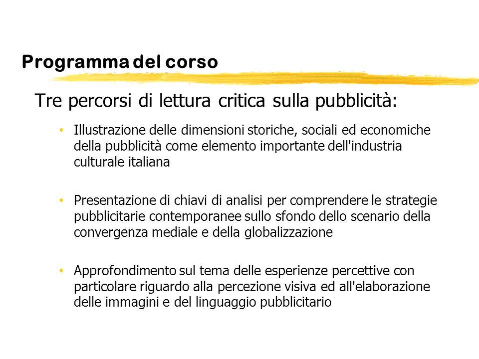 Programma del corso Tre percorsi di lettura critica sulla pubblicità: Illustrazione delle dimensioni storiche, sociali ed economiche della pubblicità