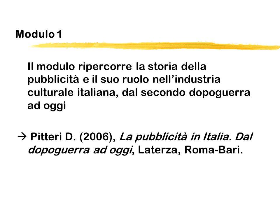 Modulo 1 Il modulo ripercorre la storia della pubblicità e il suo ruolo nellindustria culturale italiana, dal secondo dopoguerra ad oggi Pitteri D. (2