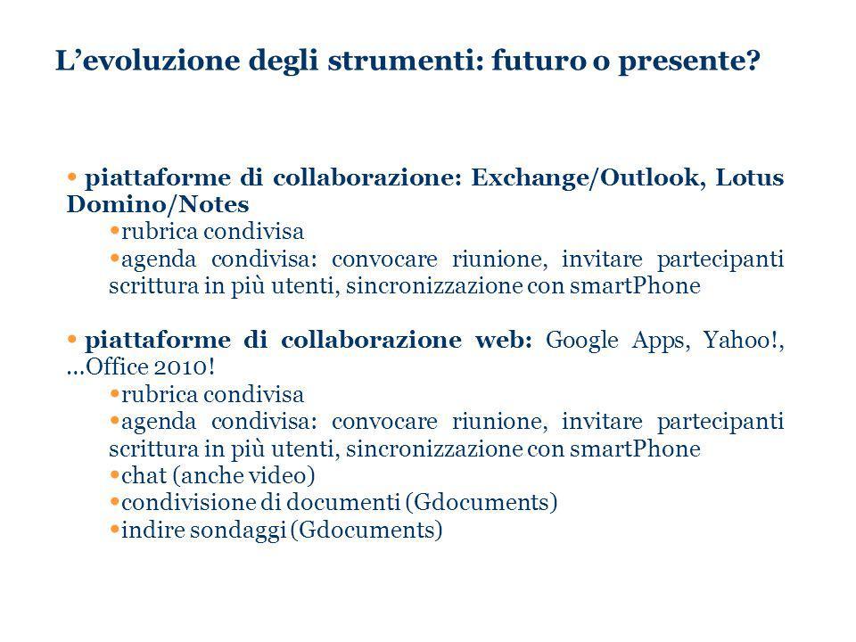 Levoluzione degli strumenti: futuro o presente? piattaforme di collaborazione: Exchange/Outlook, Lotus Domino/Notes rubrica condivisa agenda condivisa