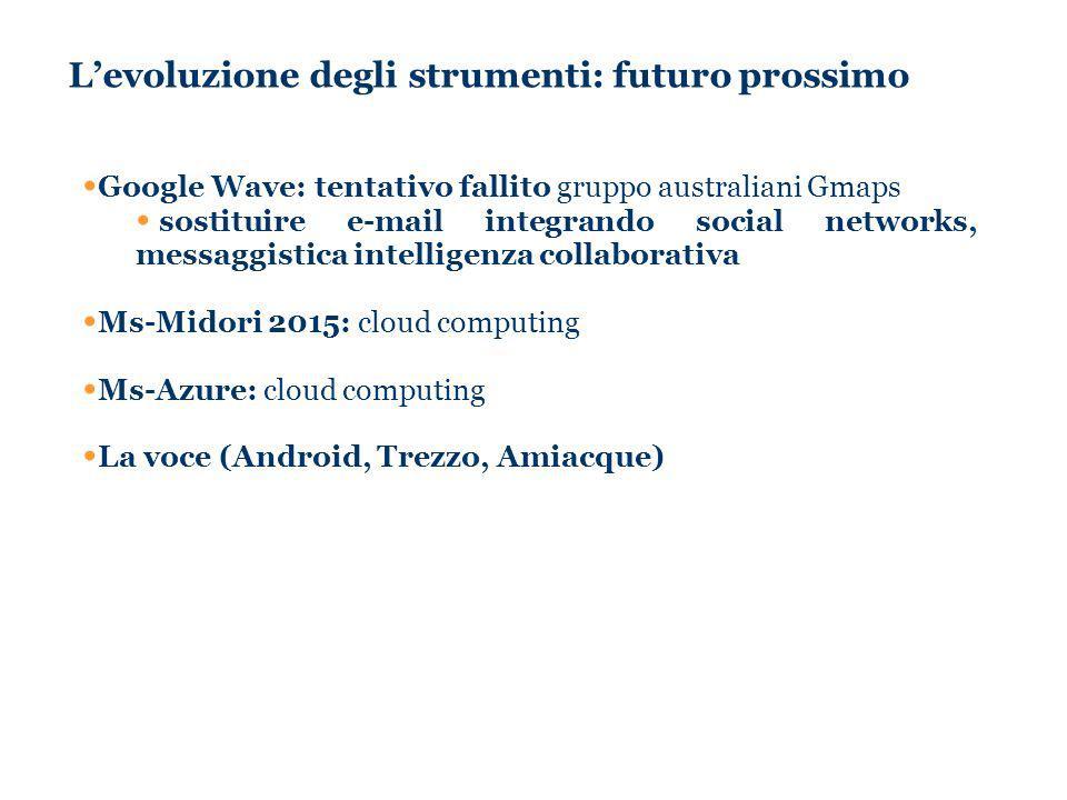 Levoluzione degli strumenti: futuro prossimo Google Wave: tentativo fallito gruppo australiani Gmaps sostituire e-mail integrando social networks, messaggistica intelligenza collaborativa Ms-Midori 2015: cloud computing Ms-Azure: cloud computing La voce (Android, Trezzo, Amiacque)