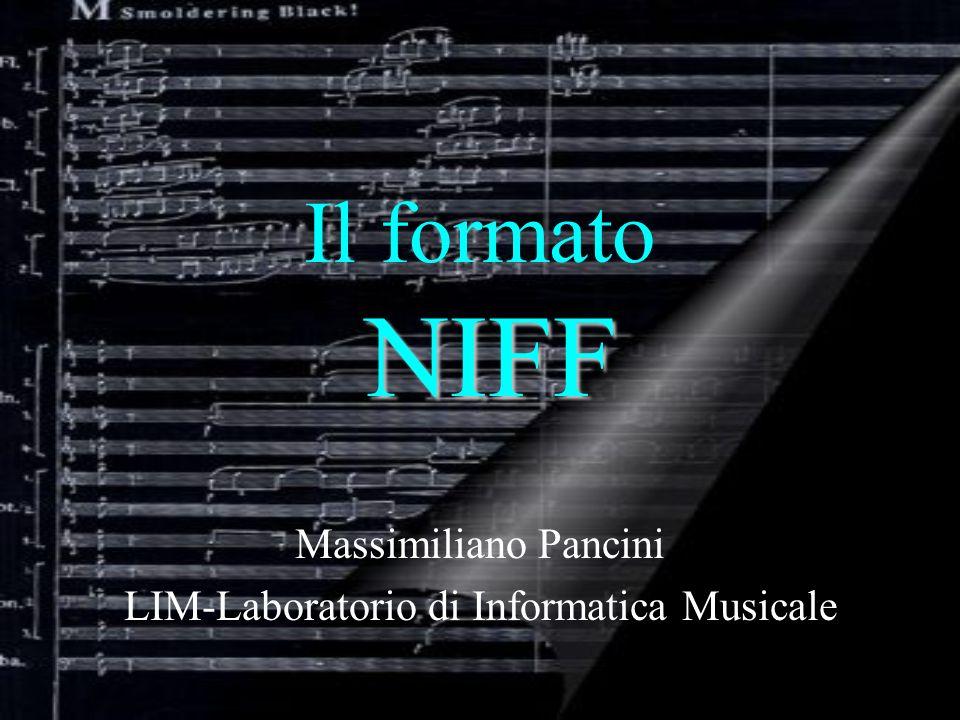 NIFF Il formato NIFF E espressa in due differenti modi: dimensione (in twips) Altezza dello spazio occupato(in unita assolute) (questultimo per ovviare alla non univocita del concetto di size nel caso di tipi di font diversi) Unita di misura e sistema di coordinate Dimensione dei font musicali :