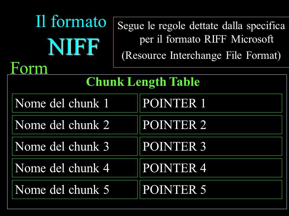 NIFF Il formato NIFF Segue le regole dettate dalla specifica per il formato RIFF Microsoft (Resource Interchange File Format) Form POINTER 4Nome del c