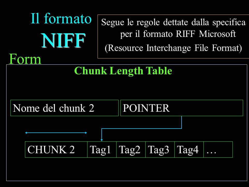 NIFF Il formato NIFF Segue le regole dettate dalla specifica per il formato RIFF Microsoft (Resource Interchange File Format) Form POINTERNome del chu