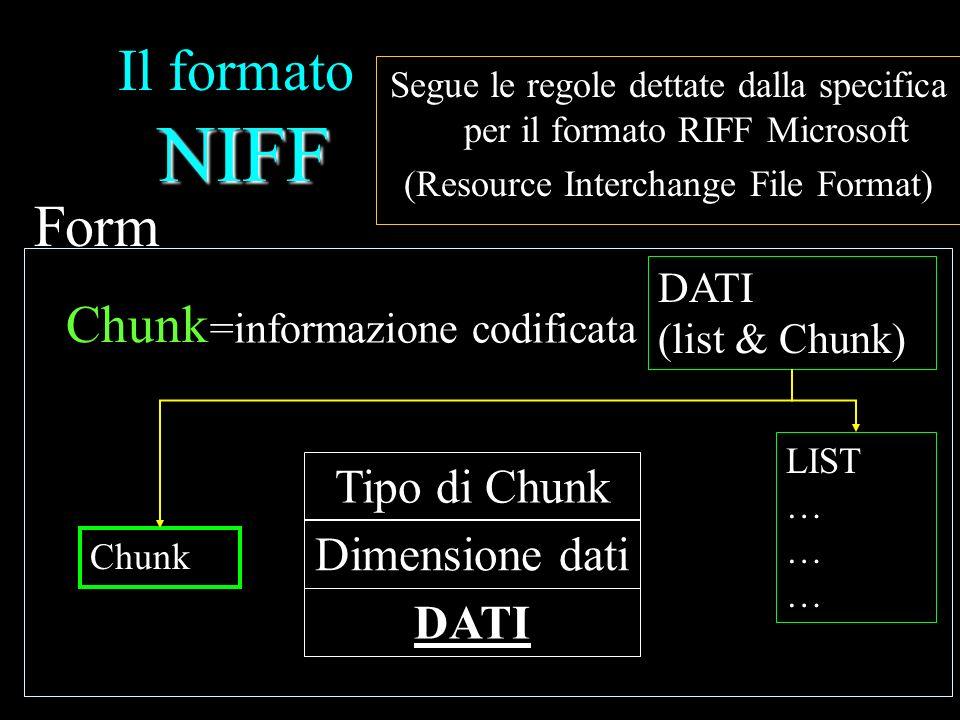 NIFF Il formato NIFF Segue le regole dettate dalla specifica per il formato RIFF Microsoft (Resource Interchange File Format) LIST … … Chunk DATI (lis