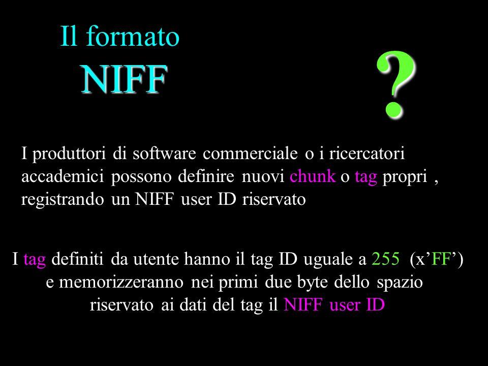 NIFF Il formato NIFF I produttori di software commerciale o i ricercatori accademici possono definire nuovi chunk o tag propri, registrando un NIFF us