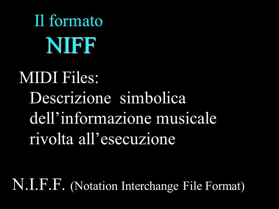 NIFF Il formato NIFF Segue le regole dettate dalla specifica per il formato RIFF Microsoft (Resource Interchange File Format) LIST … … Chunk DATI (list & Chunk) Form List = struttura, contenitore LIST Dimensione dati Tipo dati DATI
