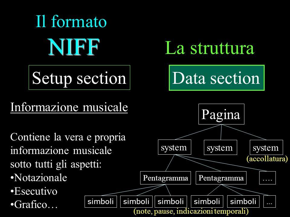 NIFF Il formato NIFF La struttura Setup section Data section Informazione musicale Contiene la vera e propria informazione musicale sotto tutti gli as