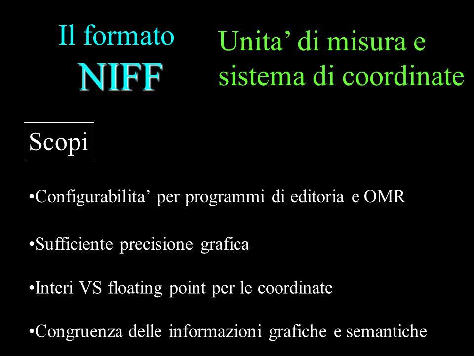 NIFF Il formato NIFF Scopi Configurabilita per programmi di editoria e OMR Sufficiente precisione grafica Interi VS floating point per le coordinate C