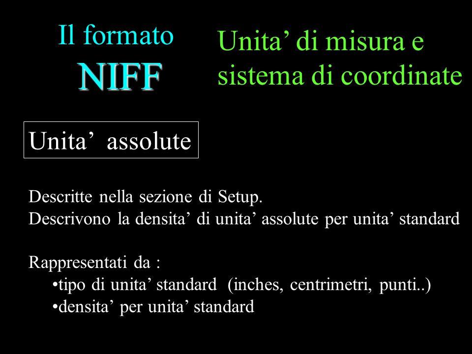 NIFF Il formato NIFF Unita assolute Descritte nella sezione di Setup. Descrivono la densita di unita assolute per unita standard Rappresentati da : ti