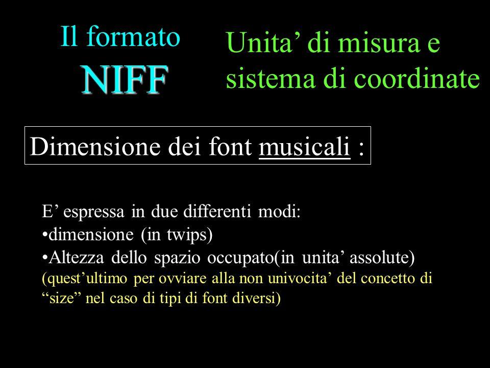 NIFF Il formato NIFF E espressa in due differenti modi: dimensione (in twips) Altezza dello spazio occupato(in unita assolute) (questultimo per ovviar