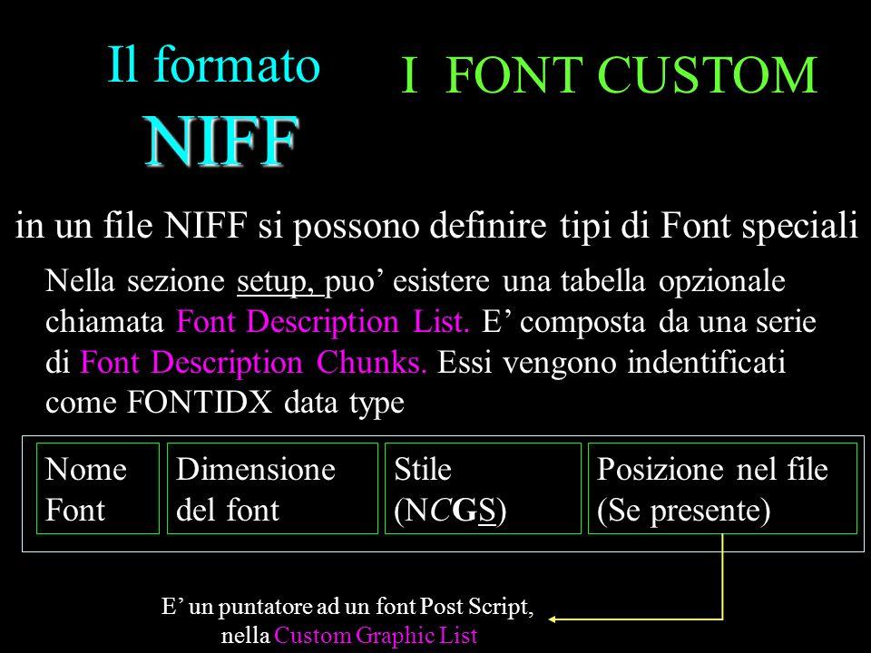NIFF Il formato NIFF I FONT CUSTOM in un file NIFF si possono definire tipi di Font speciali Nella sezione setup, puo esistere una tabella opzionale c