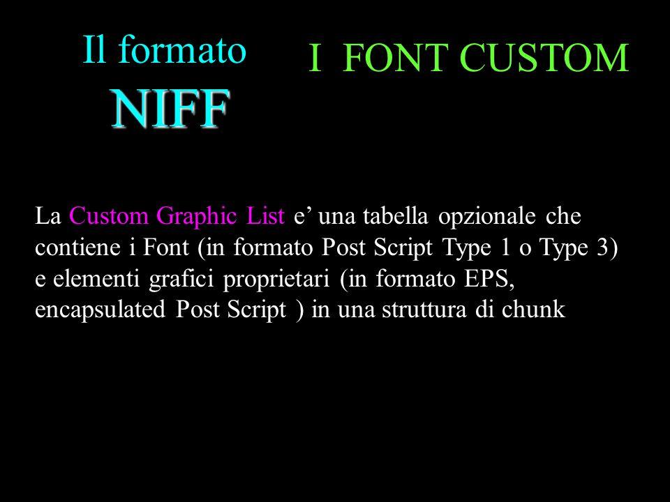 NIFF Il formato NIFF I FONT CUSTOM La Custom Graphic List e una tabella opzionale che contiene i Font (in formato Post Script Type 1 o Type 3) e eleme