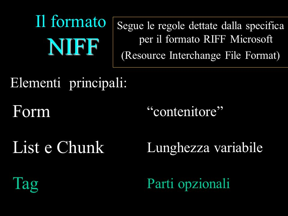 NIFF Il formato NIFF Stem Notehead, staff step=3, duration=1/4 Fingering, shape=1 Notehead, staff step=7, duration=1/4 Ornament, shape=short trill Accidental, shape=sharp, Small Size, Anchor Override=Ornament, Logical Placement=above Fig.