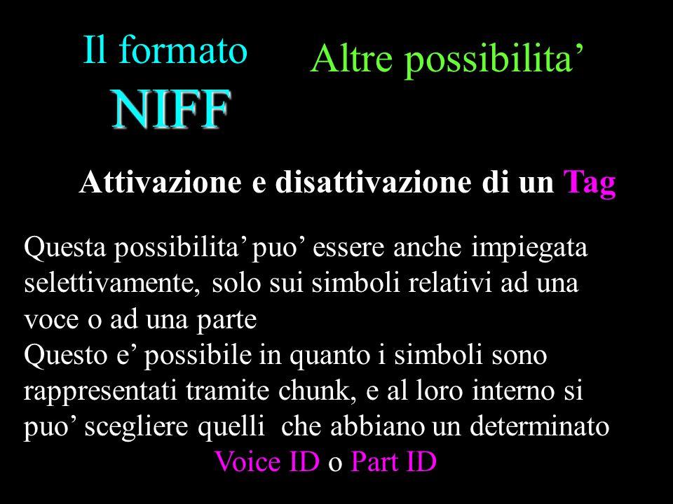 NIFF Il formato NIFF Altre possibilita Questa possibilita puo essere anche impiegata selettivamente, solo sui simboli relativi ad una voce o ad una pa