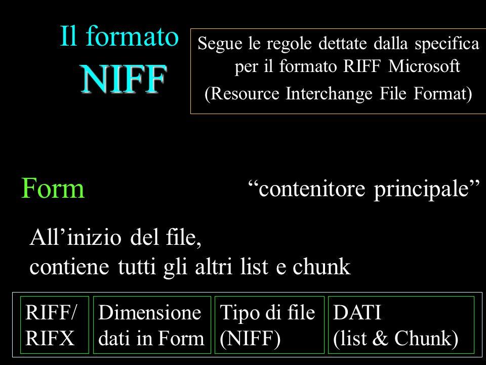 NIFF Il formato NIFF Segue le regole dettate dalla specifica per il formato RIFF Microsoft (Resource Interchange File Format) RIFF/ RIFX Dimensione dati in Form Tipo di file (NIFF) DATI (list & Chunk) Form LIST … … LIST … Chunk ……… Chunk