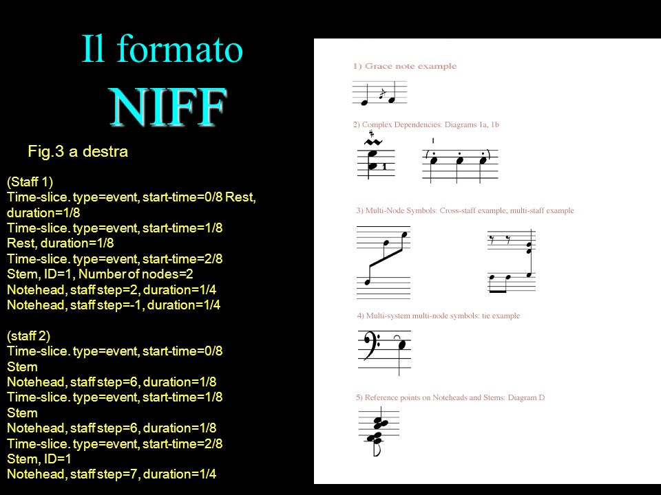 NIFF Il formato NIFF Fig.3 a destra (Staff 1) Time-slice. type=event, start-time=0/8 Rest, duration=1/8 Time-slice. type=event, start-time=1/8 Rest, d