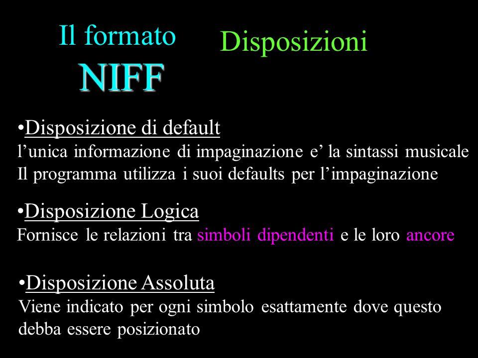 NIFF Il formato NIFF Disposizioni Disposizione di default lunica informazione di impaginazione e la sintassi musicale Il programma utilizza i suoi def