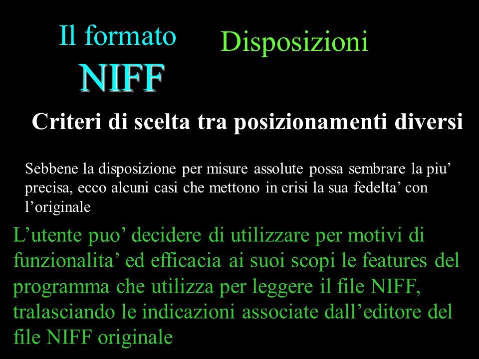 NIFF Il formato NIFF Sebbene la disposizione per misure assolute possa sembrare la piu precisa, ecco alcuni casi che mettono in crisi la sua fedelta c