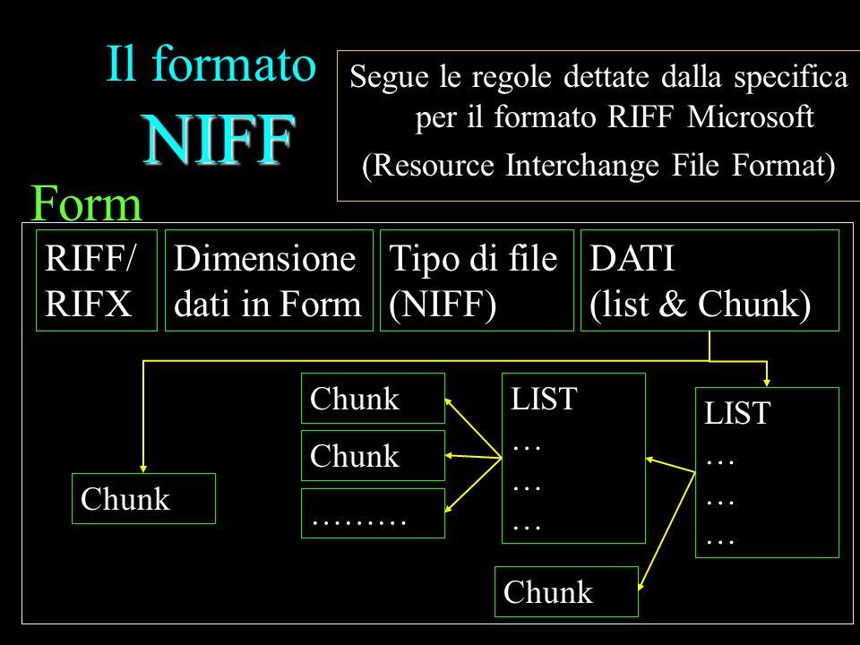 NIFF Il formato NIFF Segue le regole dettate dalla specifica per il formato RIFF Microsoft (Resource Interchange File Format) RIFF/ RIFX Dimensione dati in Form Tipo di file (NIFF) DATI (list & Chunk) Form POINTER (4 byte ) Nome del chunk (4 byte ) Chunk Length Table