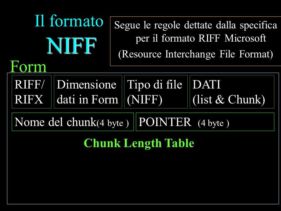NIFF Il formato NIFF Segue le regole dettate dalla specifica per il formato RIFF Microsoft (Resource Interchange File Format) Form POINTER 4Nome del chunk 4POINTER 1Nome del chunk 1POINTER 5Nome del chunk 5 POINTER 2Nome del chunk 2 POINTER 3Nome del chunk 3 Chunk Length Table