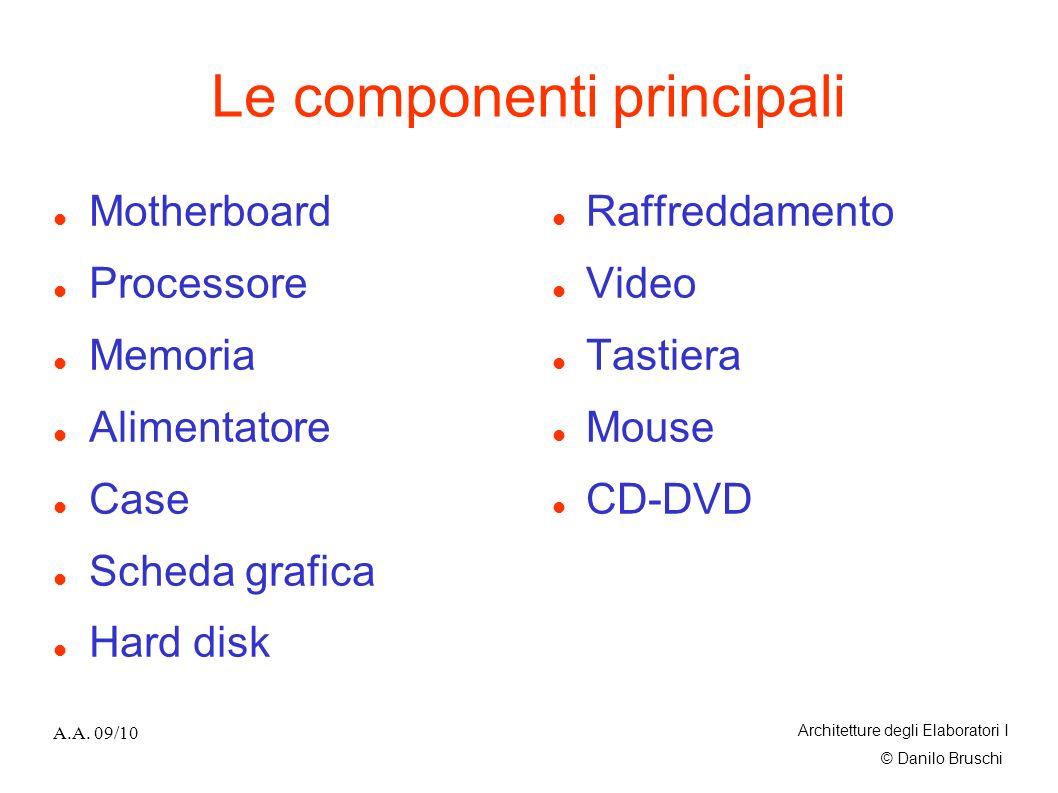 © Danilo Bruschi A.A. 09/10 Architetture degli Elaboratori I Le componenti principali Motherboard Processore Memoria Alimentatore Case Scheda grafica