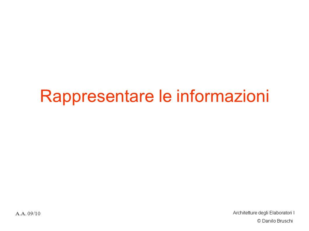 © Danilo Bruschi A.A. 09/10 Architetture degli Elaboratori I Rappresentare le informazioni