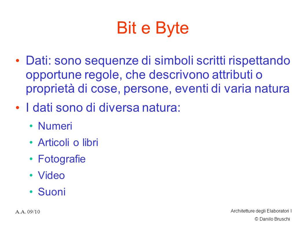 © Danilo Bruschi A.A. 09/10 Architetture degli Elaboratori I Bit e Byte Dati: sono sequenze di simboli scritti rispettando opportune regole, che descr
