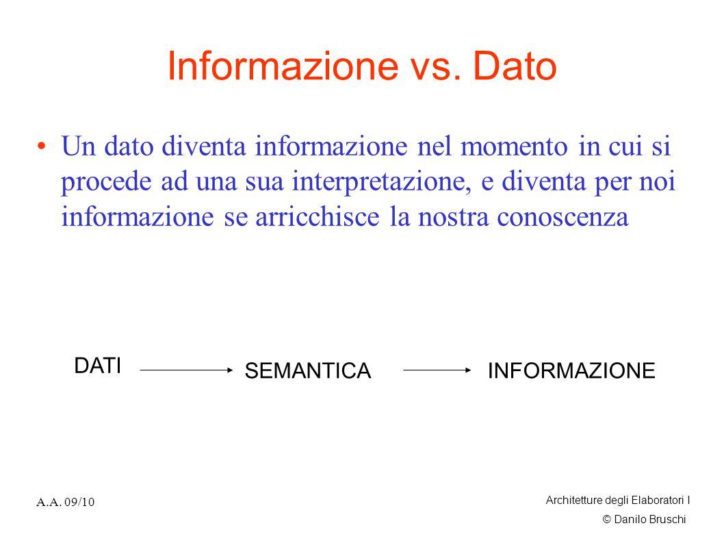 © Danilo Bruschi A.A. 09/10 Architetture degli Elaboratori I Informazione vs. Dato Un dato diventa informazione nel momento in cui si procede ad una s