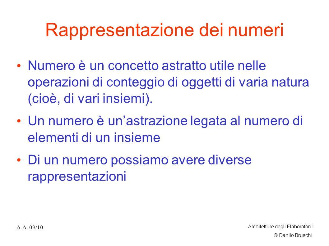 © Danilo Bruschi A.A. 09/10 Architetture degli Elaboratori I Rappresentazione dei numeri Numero è un concetto astratto utile nelle operazioni di conte