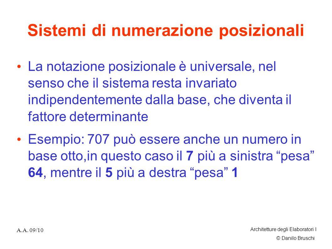 © Danilo Bruschi A.A. 09/10 Architetture degli Elaboratori I Sistemi di numerazione posizionali La notazione posizionale è universale, nel senso che i