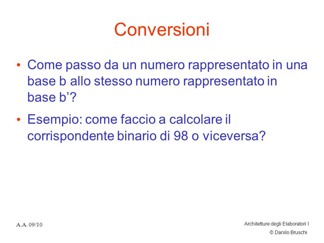© Danilo Bruschi A.A. 09/10 Architetture degli Elaboratori I Conversioni Come passo da un numero rappresentato in una base b allo stesso numero rappre