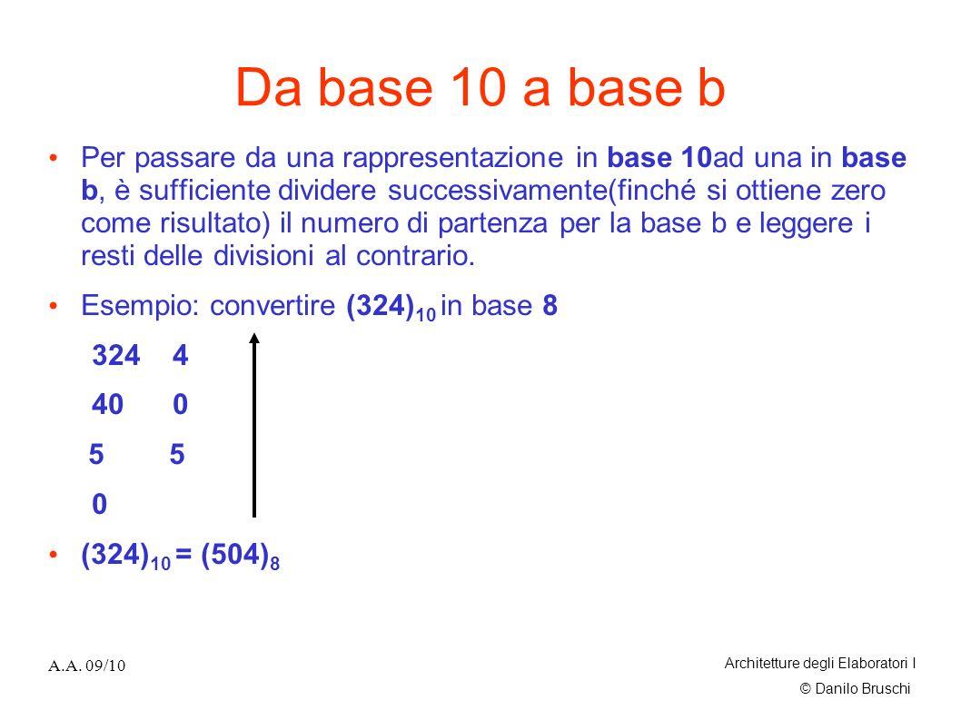© Danilo Bruschi A.A. 09/10 Architetture degli Elaboratori I Da base 10 a base b Per passare da una rappresentazione in base 10ad una in base b, è suf