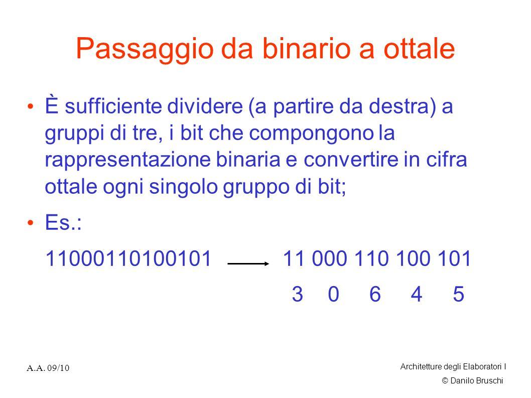 © Danilo Bruschi A.A. 09/10 Architetture degli Elaboratori I Passaggio da binario a ottale È sufficiente dividere (a partire da destra) a gruppi di tr