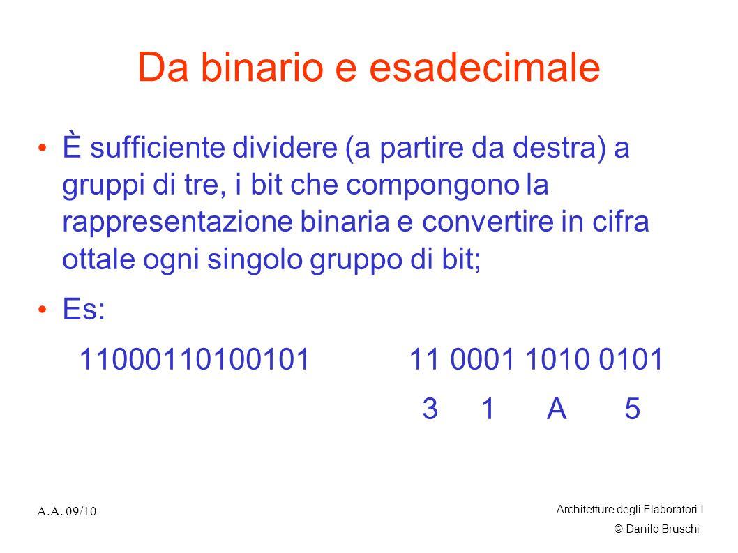 © Danilo Bruschi A.A. 09/10 Architetture degli Elaboratori I Da binario e esadecimale È sufficiente dividere (a partire da destra) a gruppi di tre, i