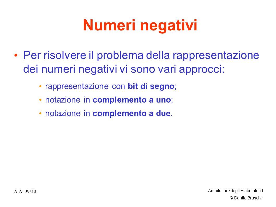© Danilo Bruschi A.A. 09/10 Architetture degli Elaboratori I Numeri negativi Per risolvere il problema della rappresentazione dei numeri negativi vi s