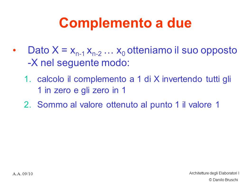 © Danilo Bruschi A.A. 09/10 Architetture degli Elaboratori I Complemento a due Dato X = x n-1 x n-2 … x 0 otteniamo il suo opposto -X nel seguente mod