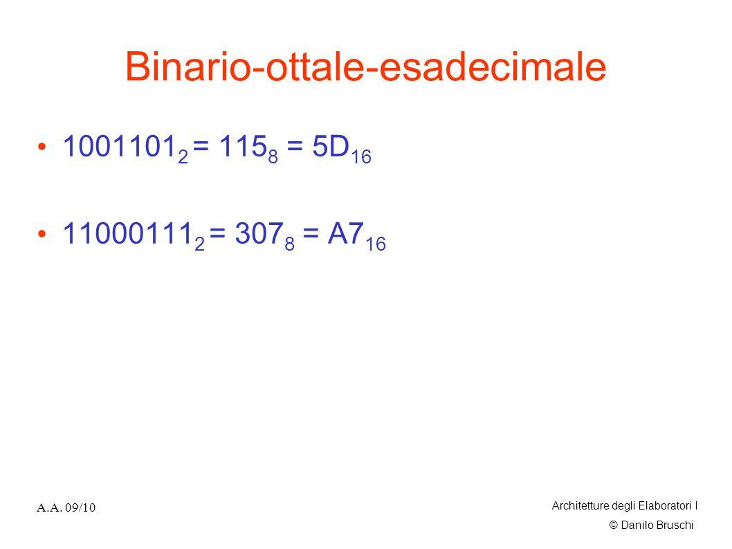 © Danilo Bruschi A.A. 09/10 Architetture degli Elaboratori I Binario-ottale-esadecimale 1001101 2 = 115 8 = 5D 16 11000111 2 = 307 8 = A7 16
